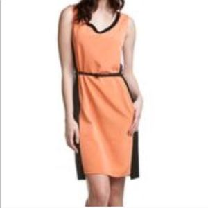 Elie Tahari orange color block shift dress, sz 12